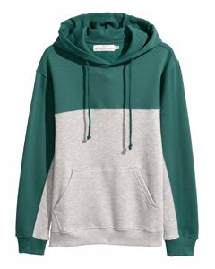 Block-coloured Hooded Top Green