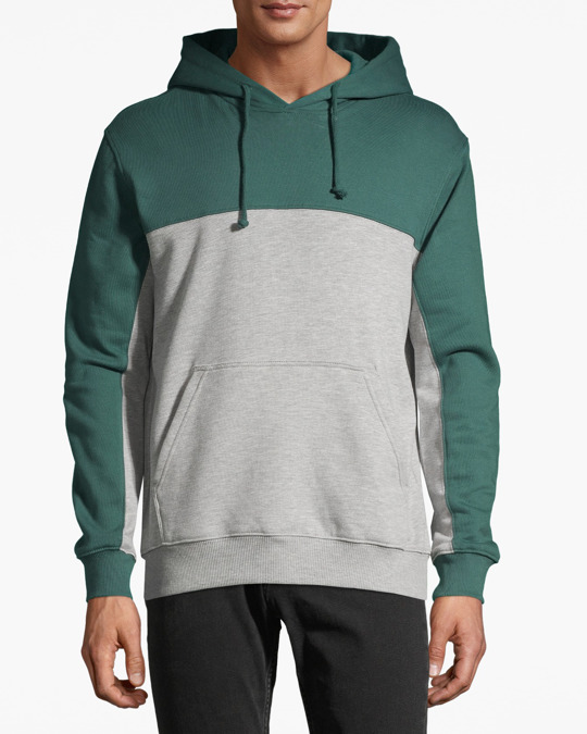 H&M Block-coloured Hooded Top Green