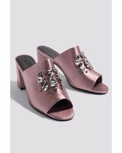 Embellished Mule Sandals Dusty Dark Pink