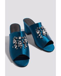 Embellished Mule Sandals Petrol Blue