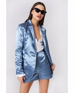 Shiny Satin Blazer Blue Stone