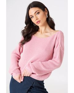 Cropped Knitted Sweater Light Pink