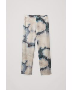 Straight Loose Trousers Beige / Blue