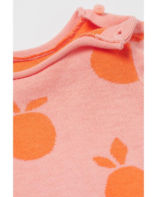 H&M Jacquard-knit Jumper Powder Pink/oranges
