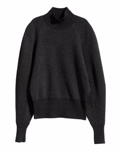 Knitted Polo-neck Jumper Black