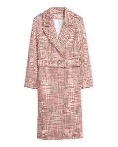Mantel aus Strukturstoff Weiß/Rot