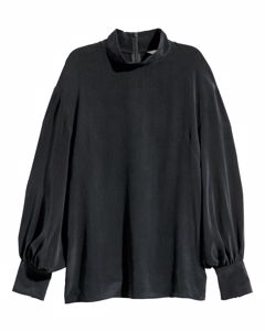 Blouse With A Stand-up Collar Black