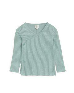 Cotton Wool Wrap Cardigan Light Blue