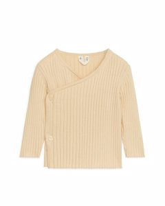 Cotton Wool Wrap Cardigan Beige Melange