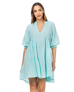 Wide Dress With V Neck And 3/e Elastic Sleeves