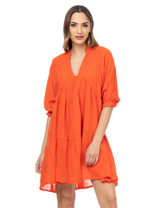 Wide Dress With V Neck And 3/4 Elastic Sleeves