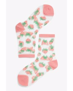 Transparent Socks Strawberry Print