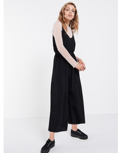 Black Strappy Culotte Jumpsuit Black