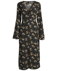Black Clover Floral Tie Detail Midi Dress Black