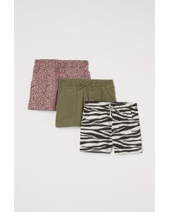 3er-Pack Jerseyshorts Khakigrün/Leopardenmuster