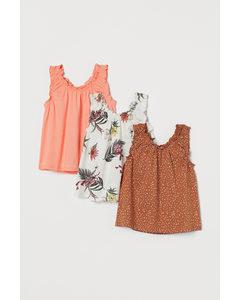 Set Van 3 Katoenen Tops Oranje/bloemen