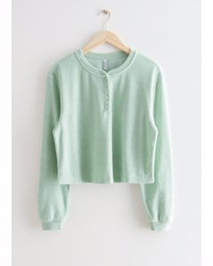 Boxy Pearl Button Top Mint