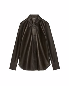 Slim Leather Shirt Black