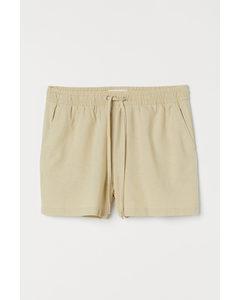 Shorts aus Leinenmix Hellbeige