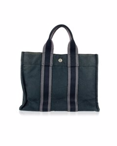 Hermes Paris Vintage Black Cotton Fourre Tout Pm Tote Bag