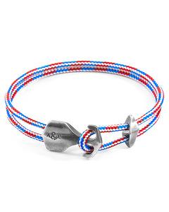 Projekt-Rwb Rote Weisse Und Blaue Delta Silber Und Seil Ankerarmband