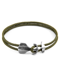 Anchor & Crew Khaki Green Delta Anchor Silver And Rope Bracelet