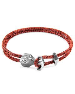 Rote Noir Delta Silber Und Seil Ankerarmband