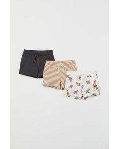 Set Van 3 Tricot Shorts Beige Gestreept/dieren