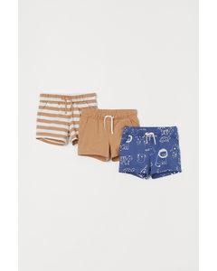 Set Van 3 Tricot Shorts Blauw/dieren