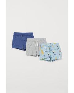 Set Van 3 Tricot Shorts Lichtblauw/dieren