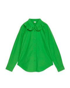 Frill Collar Poplin Shirt Green