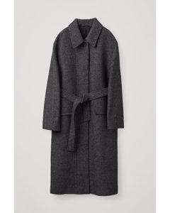 Belted Wool Trench Coat Black