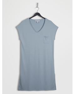 Slide Slit Soft V-neck Jersey Dress Powderblue