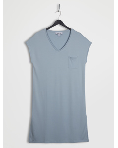 Slide Slit Soft V-neck Jersey Dress Powderblue