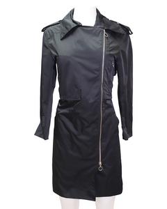 Black Zip Trench Coat