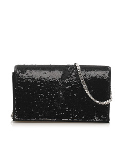 Ysl Monogram Sequined Wallet On Chain Black