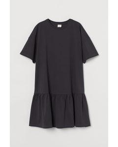 T-Shirt-Kleid aus Baumwolle Dunkelgrau