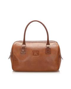 Burberry Leather Boston Bag Brown