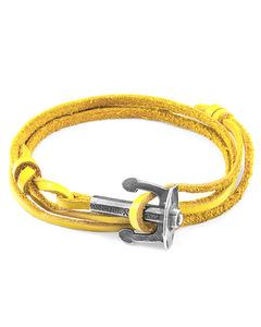 Senfgelbe Union Silber Und Flaches Leder Ankerarmband