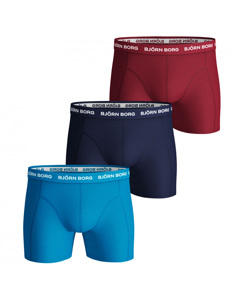 Björn Borg 3-pack Boxers Solids Sky/navy/rood Multi