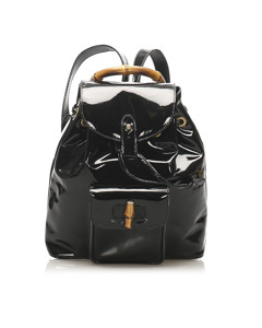 Gucci Bamboo Patent Leather Drawstring Backpack Black