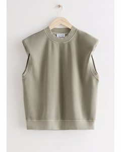 Relaxed Padded Shoulder Top Khaki