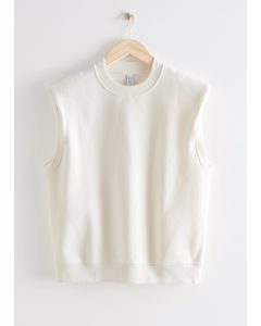 Relaxed Padded Shoulder Top White