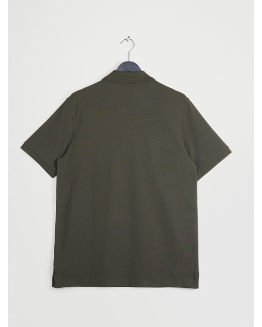 Arket Poloshirt aus Pikee Dunkles Olivgrün