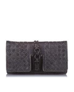 Bottega Veneta Intrecciato Lizard Leather Clutch Bag Black