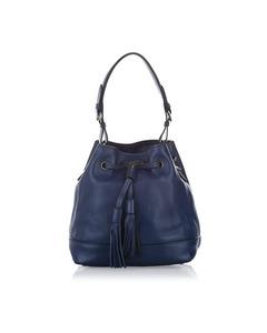 Prada Leather Bucket Bag Blue
