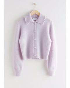 Statement Collar Knit Cardigan Lilac