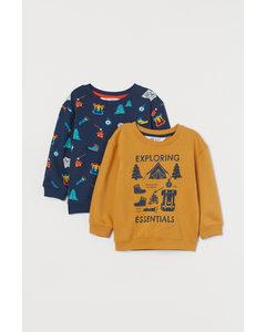 2-pack Sweatshirt Gul/mönstrad