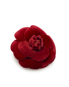 Chanel Camellia Velour Brooch Red