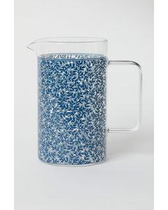 Gemusterte Glaskaraffe Blau/Blattmuster